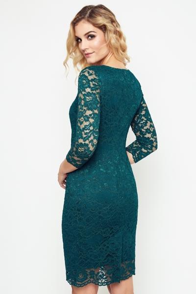 Elegancka koronkowa sukienka w kolorze butelkowym