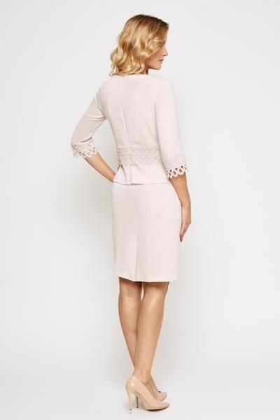 Pudrowa elegancka sukienka